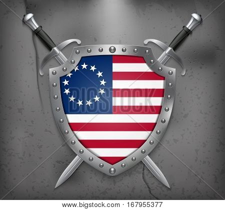 American Betsy Ross Flag. Vector Medieval Background