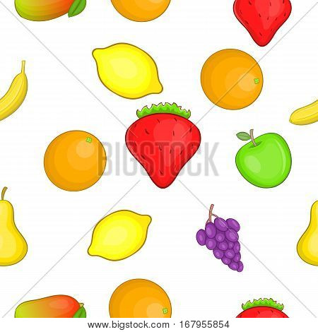 Orchard fruits pattern. Cartoon illustration of orchard fruits vector pattern for web