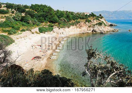 Beach Tracia on the aegean island Samos