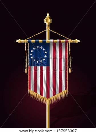 American Betsy Ross Flag. Festive Vertical Banner With Flagpole