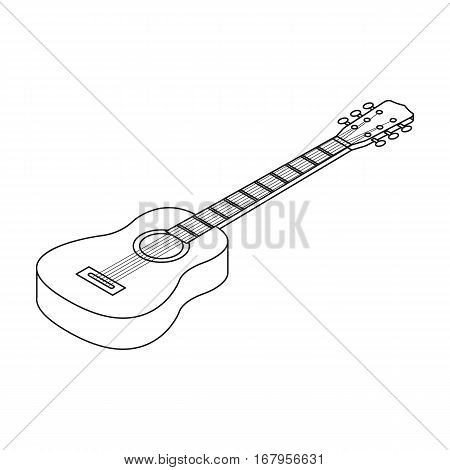 Acoustic guitar icon in outline design isolated on white background. Musical instruments symbol stock vector illustration.