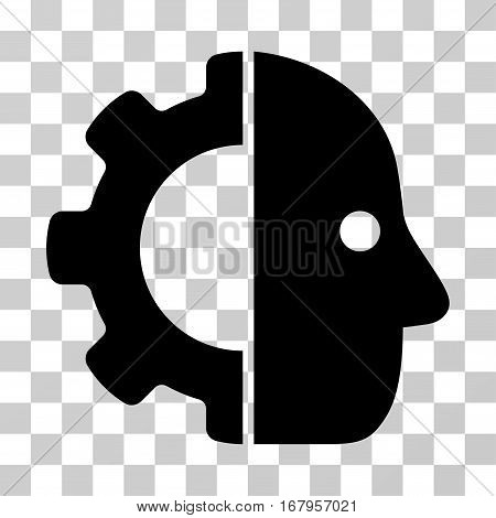 Cyborg icon. Vector illustration style is flat iconic symbol, black color, transparent background. Designed for web and software interfaces.