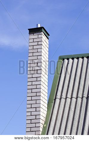 small private house chimney and roof fragment