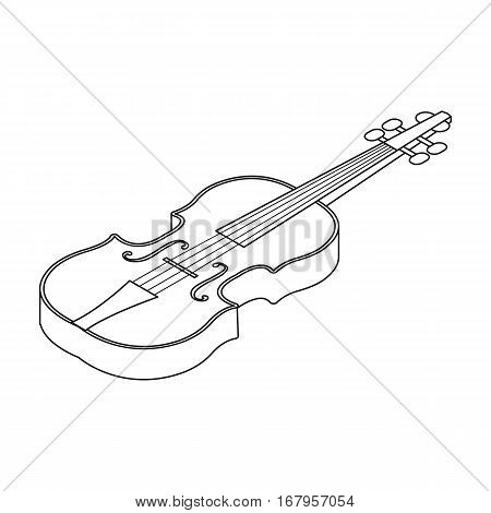 Violin icon in outline design isolated on white background. Musical instruments symbol stock vector illustration.