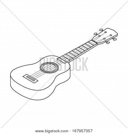 Acoustic bass guitar icon in outline design isolated on white background. Musical instruments symbol stock vector illustration.