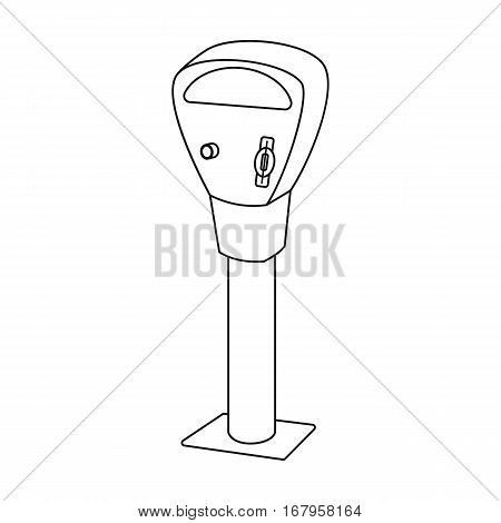 Parking meter icon in outline design isolated on white background. Parking zone symbol stock vector illustration.