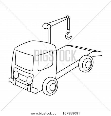 Tow truck icon in outline design isolated on white background. Parking zone symbol stock vector illustration.