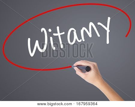 Woman Hand Writing Witamy (welcome In Polish) With Black Marker On Visual Screen.
