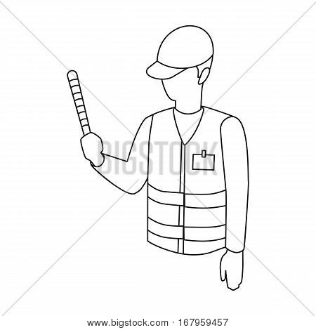 Parking attendant icon in outline design isolated on white background. Parking zone symbol stock vector illustration.