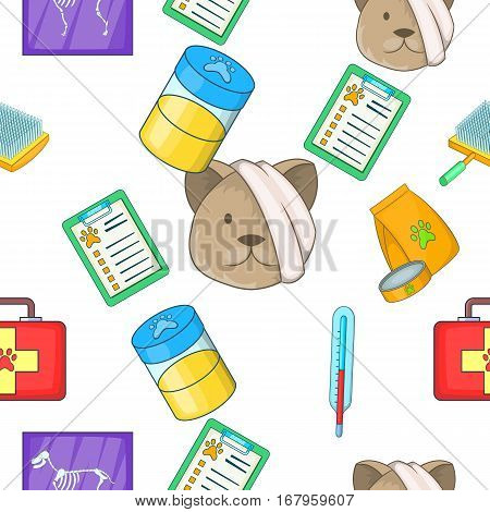 Veterinary pattern. Cartoon illustration of veterinary vector pattern for web