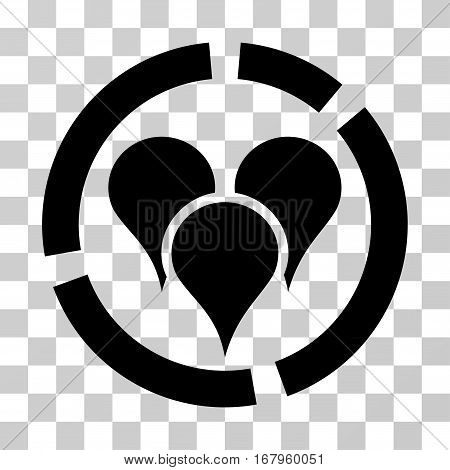 Geo Targeting Diagram icon. Vector illustration style is flat iconic symbol, black color, transparent background. Designed for web and software interfaces.