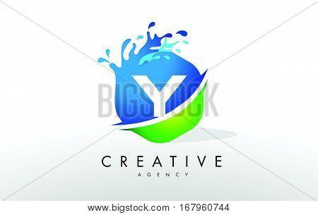 Y Letter Logo. Blue Green Splash Design Vector with Water Drops.