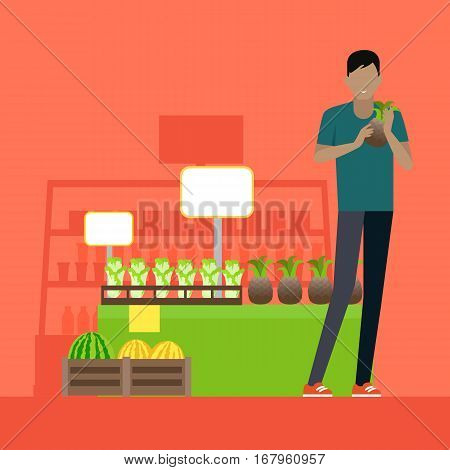 Customer in grocery store vector. Flat design. Man in casual clothes with pineapple in hands standing near fruits and vegetables showcase in supermarket. Buying healthy fresh greens on market.