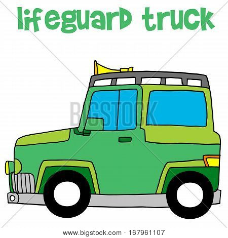 Lifeguard truck design vector art with hand draw