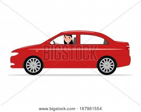 Vector illustration cartoon beautiful girl sitting in a car behind the wheel. Isolated white background. Woman behind the wheel rides on a sedan automobile. Flat style.