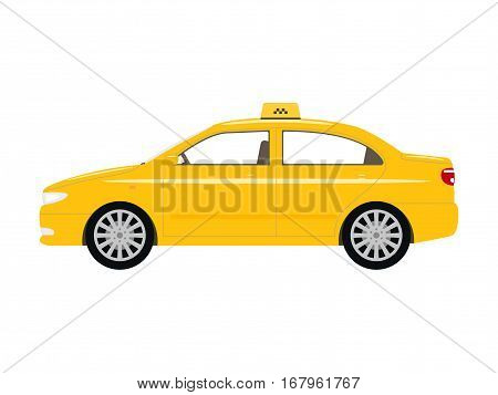 Vector illustration cartoon car yellow taxi. Isolated white background. Flat style. Icon logo taxicab side view, profile.