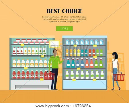 Best choice in supermarket concept web banner. Flat style. Shopping in grocery store. Customers choose daily products from shelves. For buyer decision and merchandising strategy web page design.