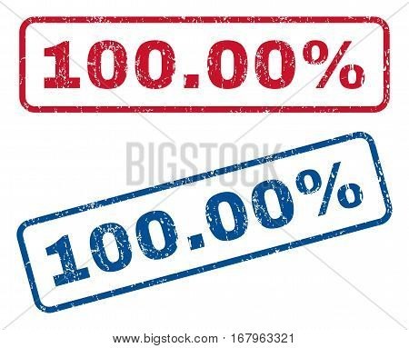 100.00 Percent text rubber seal stamp watermarks. Vector style is blue and red ink caption inside rounded rectangular shape. Grunge design and unclean texture. Blue and red stickers.