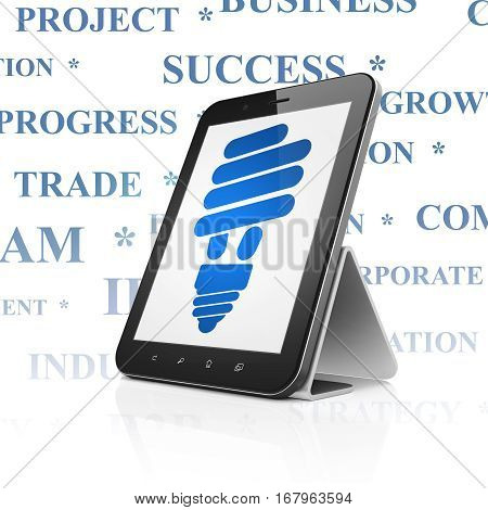 Business concept: Tablet Computer with  blue Energy Saving Lamp icon on display,  Tag Cloud background, 3D rendering