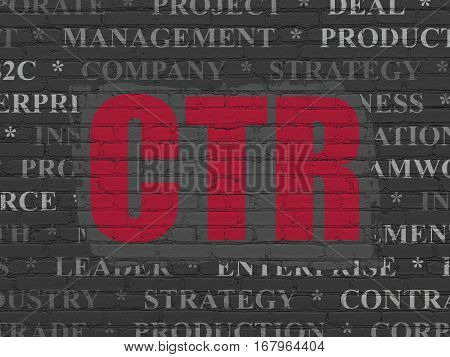 Finance concept: Painted red text CTR on Black Brick wall background with  Tag Cloud