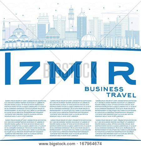 Outline Izmir Skyline with Blue Buildings and Copy Space. Vector Illustration. Business Travel and Tourism Concept with Modern Architecture. Image for Presentation Banner Placard and Web Site.