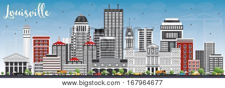 Louisville Skyline with Gray Buildings and Blue Sky. Vector Illustration. Business Travel and Tourism Concept with Modern Architecture. Image for Presentation Banner Placard and Web Site.