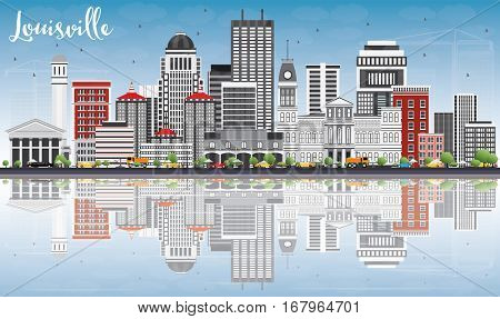 Louisville Skyline with Gray Buildings, Blue Sky and Reflections. Vector Illustration. Business Travel and Tourism Concept with Modern Architecture. Image for Presentation Banner Placard and Web Site.