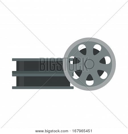Film cinema technology vector. Twisted movie strip with round reel illustration.