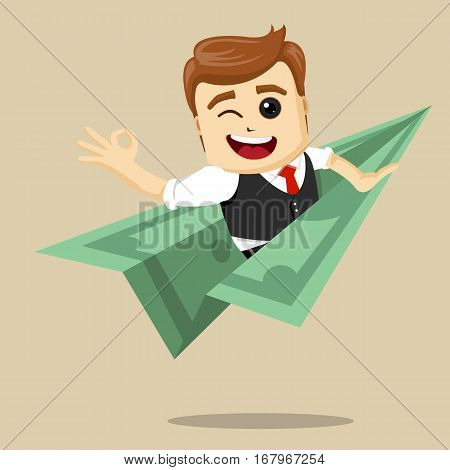 Vector businessman flying on dollar plane. Illustration of cartoon businessman on flying money.