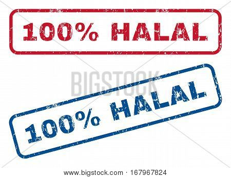 100 Percent Halal text rubber seal stamp watermarks. Vector style is blue and red ink caption inside rounded rectangular banner. Grunge design and unclean texture. Blue and red emblems.