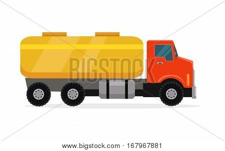 Tank truck vector. Flat design. Industrial transport. Construction machine. Lorry with container for liquids. For construction theme illustrating, building companies advertising. On white background