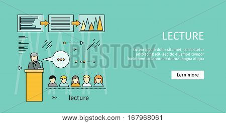 Business lecture banner. Business education, workshop, training skill, develop ability, staff training, people teamwork, personal development growth, training course concept. Vector line art
