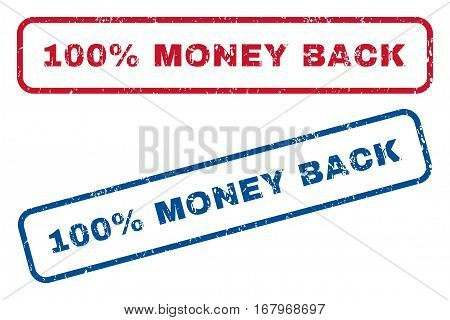 100 Percent Money Back text rubber seal stamp watermarks. Vector style is blue and red ink tag inside rounded rectangular banner. Grunge design and unclean texture. Blue and red signs.