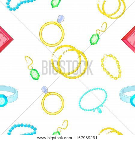 Costume jewellery pattern. Cartoon illustration of costume jewellery vector pattern for web