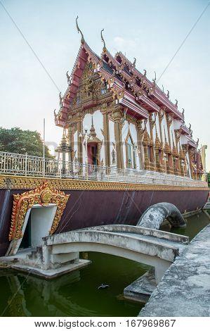 Church On Swan Boat At Wat Cha Lor Temple, Nonthaburi