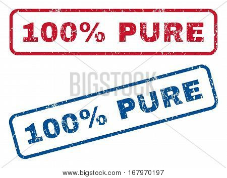 100 Percent Pure text rubber seal stamp watermarks. Vector style is blue and red ink caption inside rounded rectangular shape. Grunge design and dust texture. Blue and red emblems.