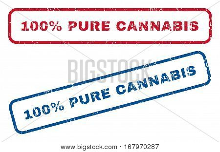 100 Percent Pure Cannabis text rubber seal stamp watermarks. Vector style is blue and red ink caption inside rounded rectangular banner. Grunge design and dust texture. Blue and red emblems.