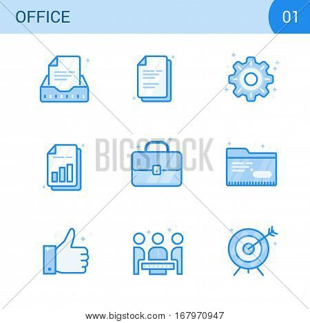 Simple Modern Set of Business Blue Color Line Icons. Business Meeting Office document Agreement Settings Bar Chart Report Target Success Portfolio Folder. Vector flat illustration