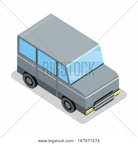 Isometric gray jeep icon. Gray city car with shadow. Isometric car web infographic. Modern vehicle. Jeep icon. SUV icon. City isometric object in flat. Isolated vector illustration on white background