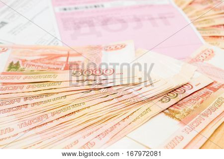 Russian Money Five Thousand Roubles With Payment Receipts