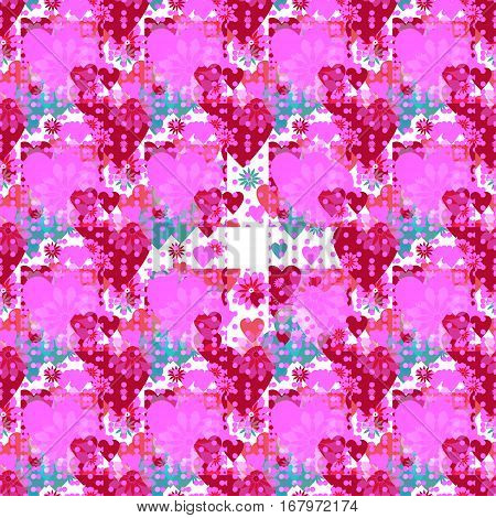 Seamless valentine spotty pattern with translucent hearts (vector eps 10)