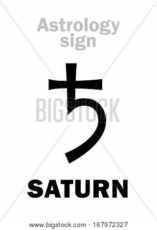 Astrology Alphabet: SATURN (Chronos), classic major social planet. Hieroglyphics character sign (single symbol).