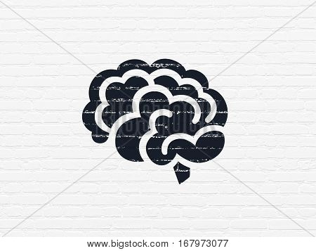 Health concept: Painted black Brain icon on White Brick wall background