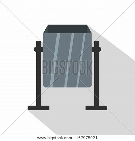Grey metal dust bin icon. Flat illustration of grey metal dust bin vector icon for web on white background