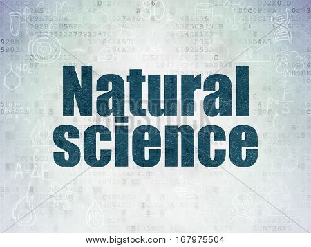 Science concept: Painted blue text Natural Science on Digital Data Paper background with  Scheme Of Hand Drawn Science Icons