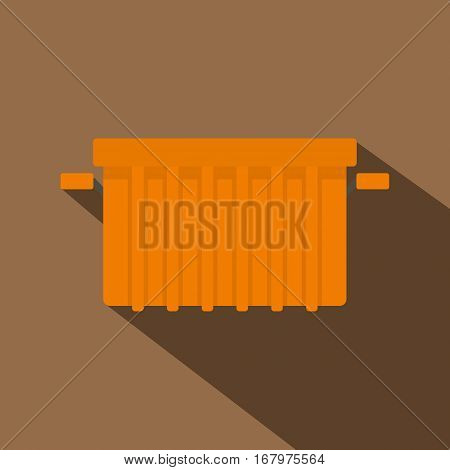 Orange garbage tank icon. Flat illustration of orange garbage tank vector icon for web on coffee background