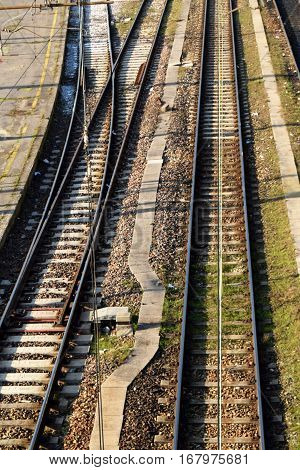 Railroad - Aerial view of a railway section for a long trip on the rails