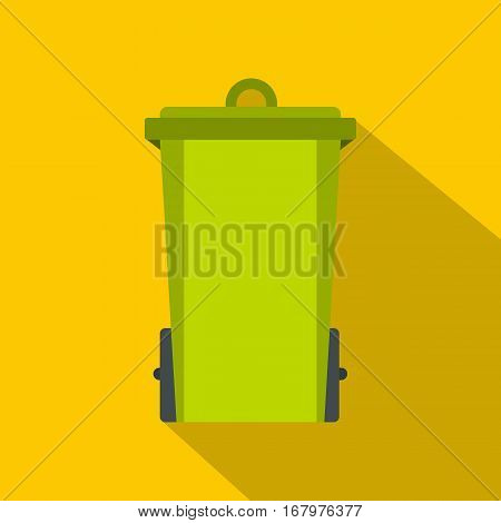 Green trash bin icon. Flat illustration of green trash bin vector icon for web on yellow background