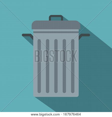 Steel bin icon. Flat illustration of steel bin vector icon for web on baby blue background