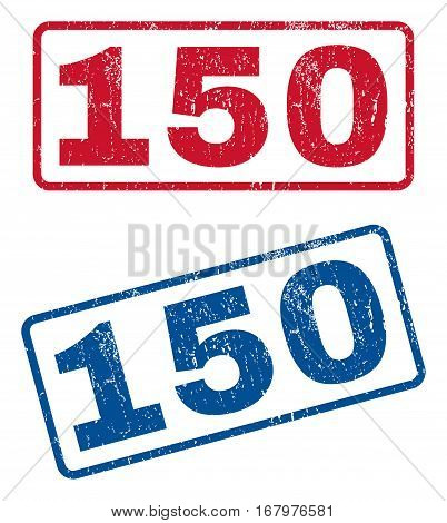 150 text rubber seal stamp watermarks. Vector style is blue and red ink tag inside rounded rectangular banner. Grunge design and dirty texture. Blue and red emblems.